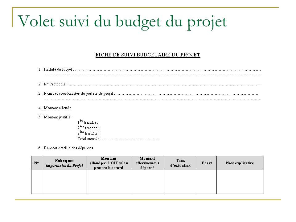 Volet suivi du budget du projet