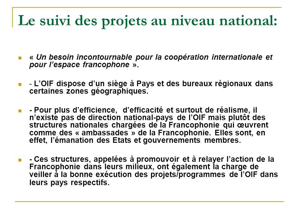 Le suivi des projets au niveau national: « Un besoin incontournable pour la coopération internationale et pour l'espace francophone ».