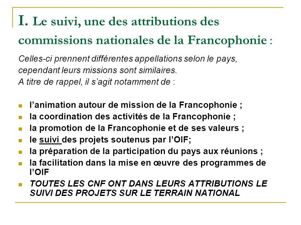 I. Le suivi, une des attributions des commissions nationales de la Francophonie : Celles-ci prennent différentes appellations selon le pays, cependant