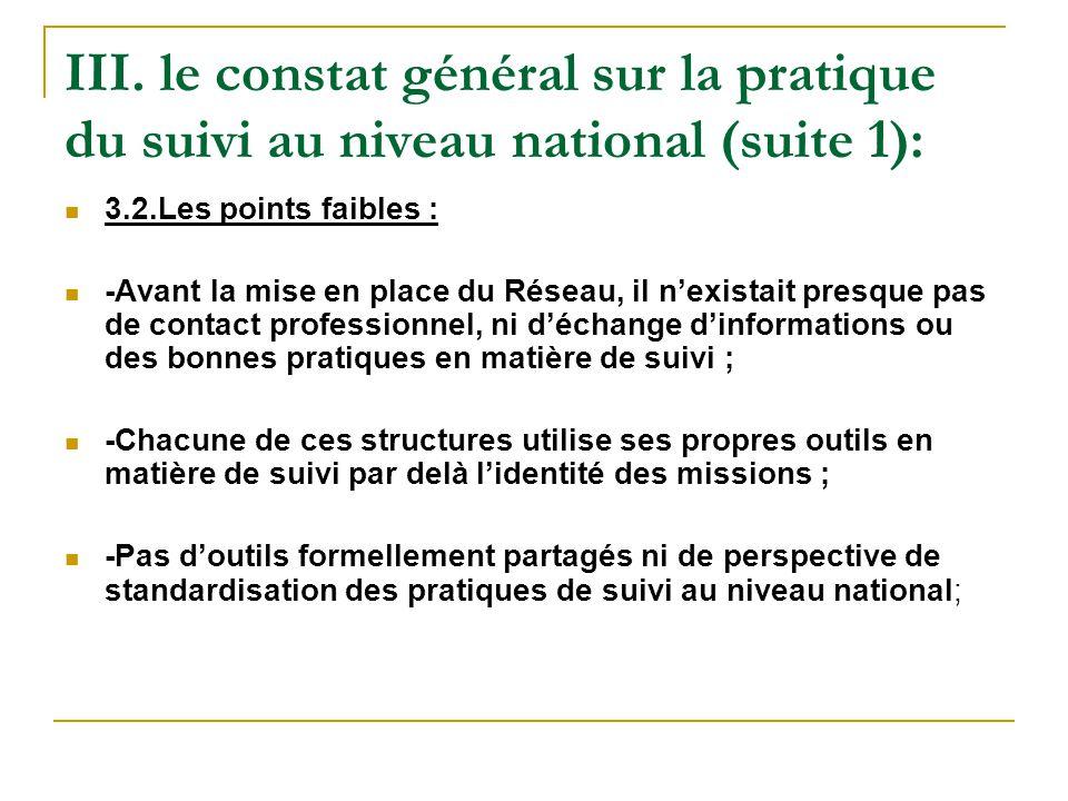 III. le constat général sur la pratique du suivi au niveau national (suite 1): 3.2.Les points faibles : -Avant la mise en place du Réseau, il n'exista