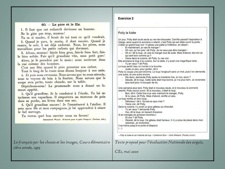 Le français par les choses et les images, Cours élémentaire 1ière année, 1955 Texte proposé pour l'évaluation Nationale des acquis, CE1, mai 2010