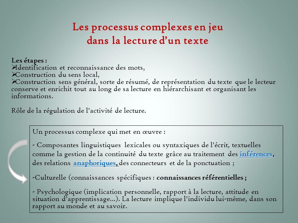 Les processus complexes en jeu dans la lecture d'un texte Les étapes :  Identification et reconnaissance des mots,  Construction du sens local,  Co