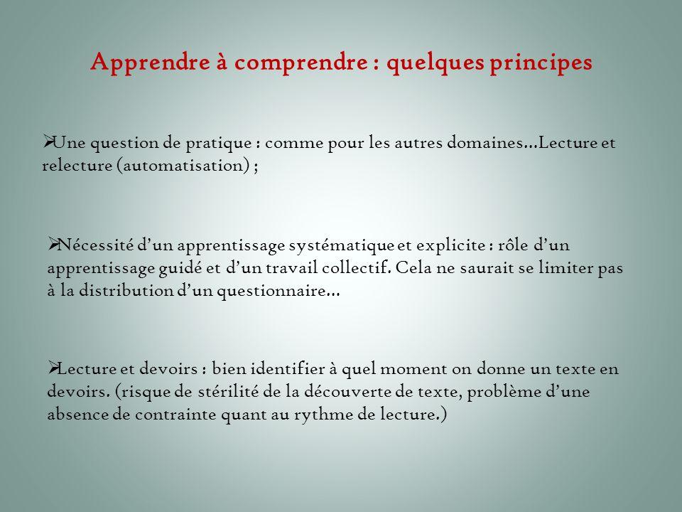 Apprendre à comprendre : quelques principes  Une question de pratique : comme pour les autres domaines…Lecture et relecture (automatisation) ;  Néce