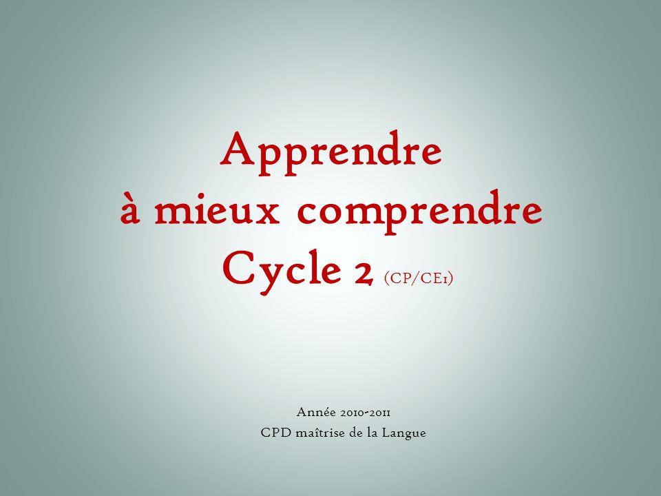 Apprendre à mieux comprendre Cycle 2 (CP/CE1) Année 2010-2011 CPD maîtrise de la Langue