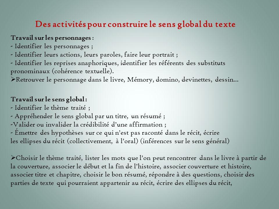 Des activités pour construire le sens global du texte Travail sur le sens global : - Identifier le thème traité ; - Appréhender le sens global par un