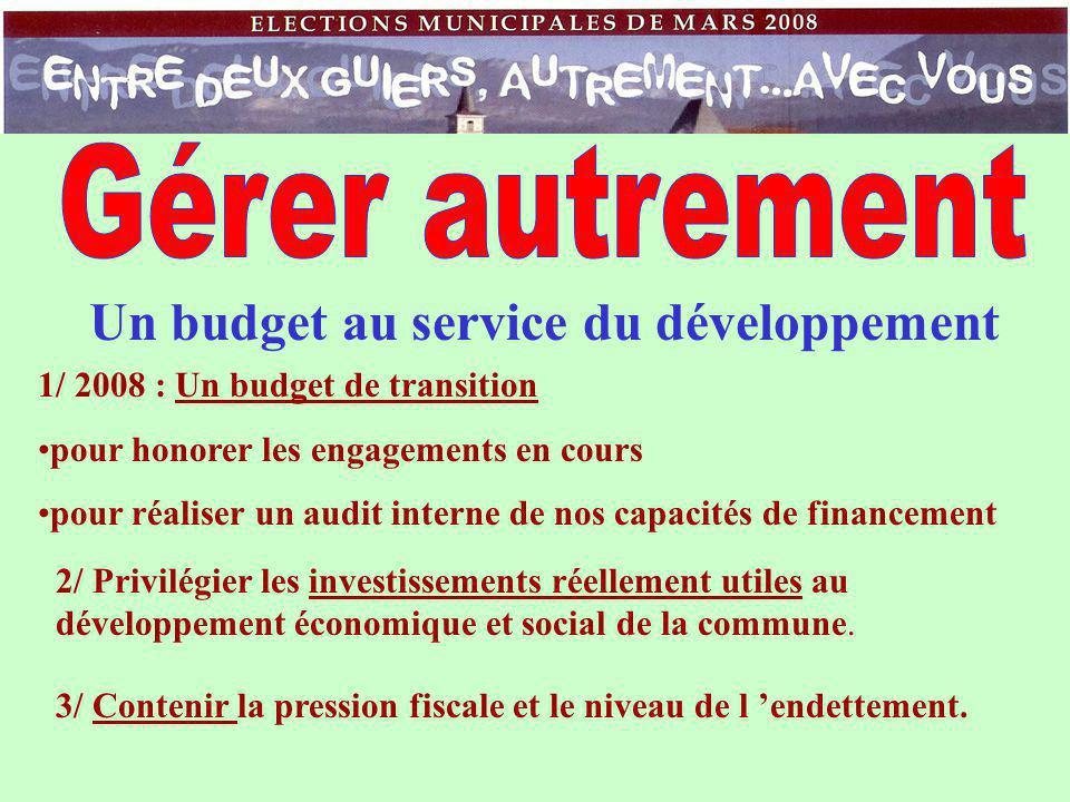 Un budget au service du développement 1/ 2008 : Un budget de transition pour honorer les engagements en cours pour réaliser un audit interne de nos capacités de financement 2/ Privilégier les investissements réellement utiles au développement économique et social de la commune.