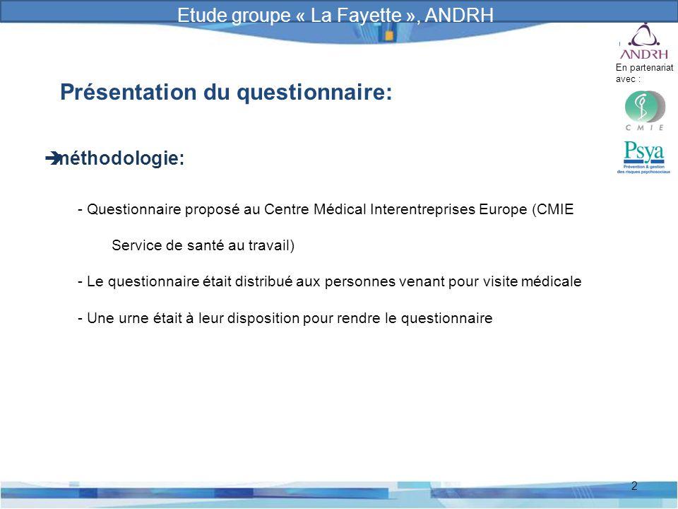 Prévention et gestion des risques psychosociaux 2 Présentation du questionnaire:  méthodologie: - Questionnaire proposé au Centre Médical Interentrep