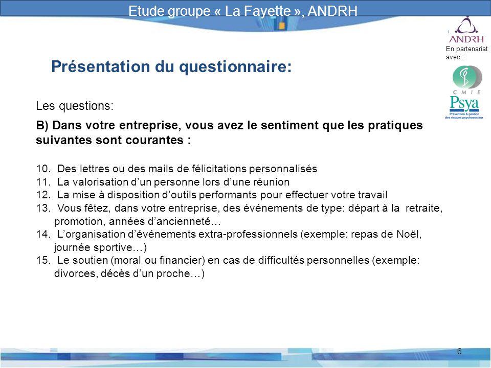 Prévention et gestion des risques psychosociaux 6 Présentation du questionnaire: Les questions: B) Dans votre entreprise, vous avez le sentiment que l