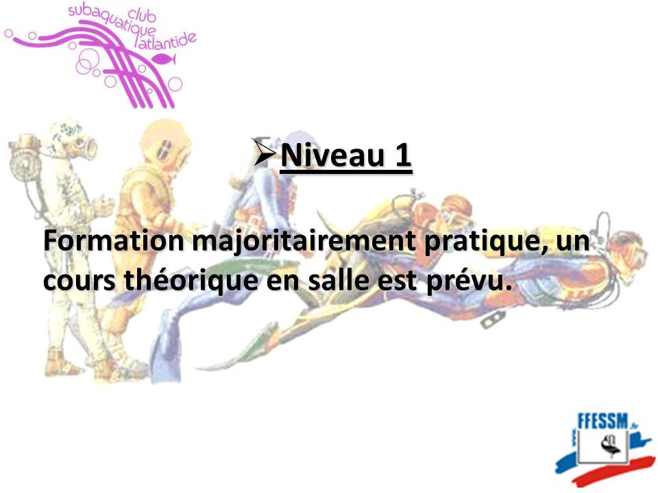  Niveau 1 Formation majoritairement pratique, un cours théorique en salle est prévu.