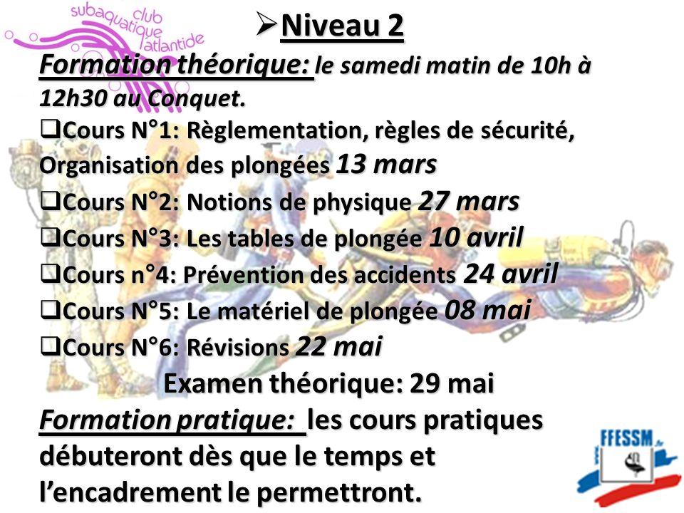  Niveau 2 Formation théorique: le samedi matin de 10h à 12h30 au Conquet.