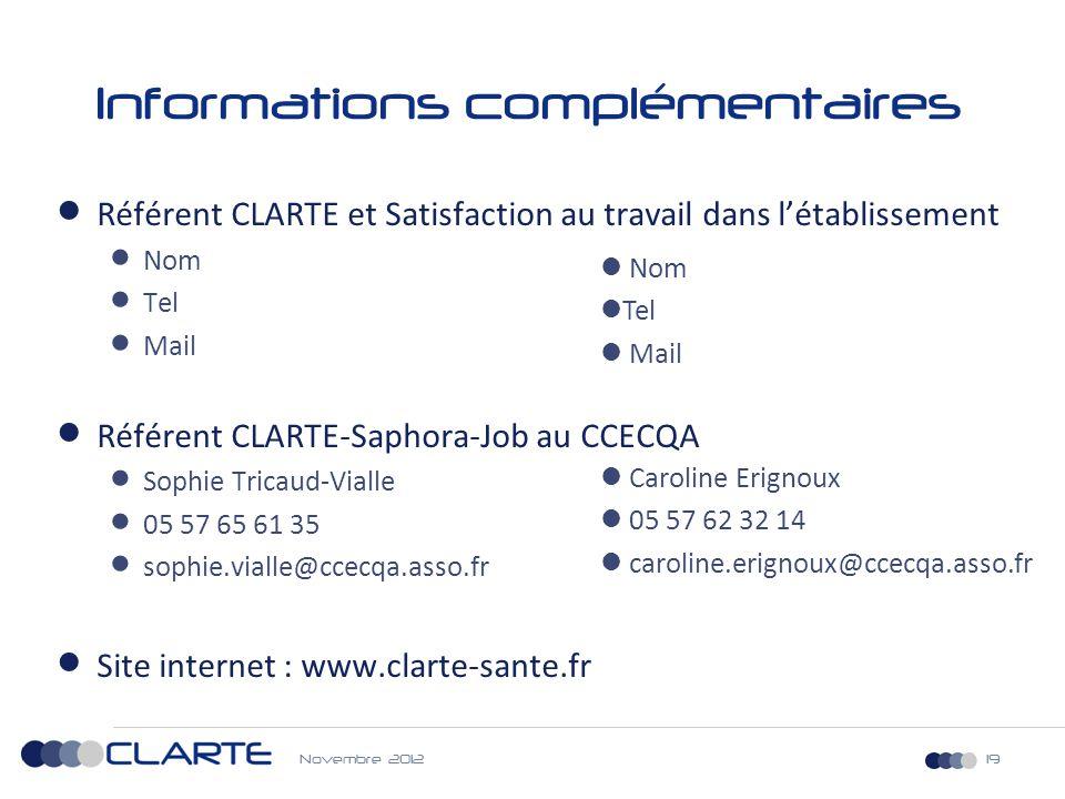 19 Informations complémentaires  Référent CLARTE et Satisfaction au travail dans l'établissement  Nom  Tel  Mail  Référent CLARTE-Saphora-Job au