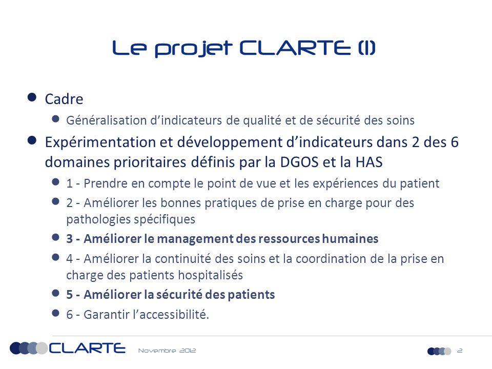 Novembre 20123 Le projet CLARTE (2) 5- Améliorer la sécurité des patients 3- Améliorer le management des ressources humaines - PSI 2 ème génération - PSI 7.2 : Taux de bactériémies liées à la pose de CVC au cours d'un séjour en Médecine - PSI 12.2 : Taux de TVP ou EP liées à la pose de PTH ou PTG - PSI 13.2 : Taux de bactériémies liées à un acte de chirurgie conventionnelle - Taux d événements indésirables associés aux soins en Pédiatrie - Taux de réadmissions ou de complications après prise en charge en chirurgie ambulatoire - Culture de sécurité chez les professionnels de santé hospitaliers - Satisfaction des personnels de santé au travail -Turn over du personnel hospitalier - Absentéisme des professionnels de santé hospitalier