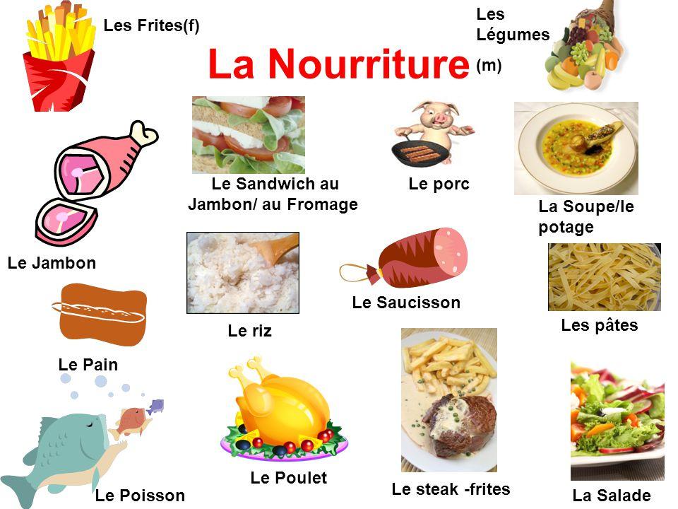 La Nourriture Le Jambon Le Sandwich au Jambon/ au Fromage Le Poisson Le Poulet La Soupe/le potage La Salade Les Légumes (m) Les Frites(f) Le Pain Le S