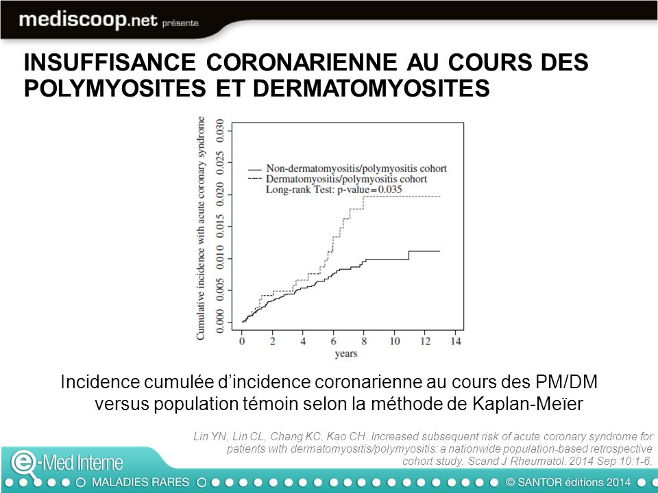 INSUFFISANCE CORONARIENNE AU COURS DES POLYMYOSITES ET DERMATOMYOSITES Lin YN, Lin CL, Chang KC, Kao CH. Increased subsequent risk of acute coronary s