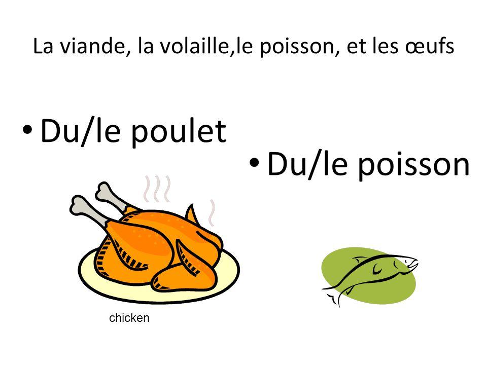La viande, la volaille,le poisson, et les œufs Du/le poulet chicken