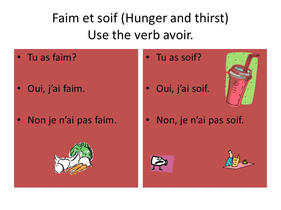Faim et soif (Hunger and thirst) Use the verb avoir.
