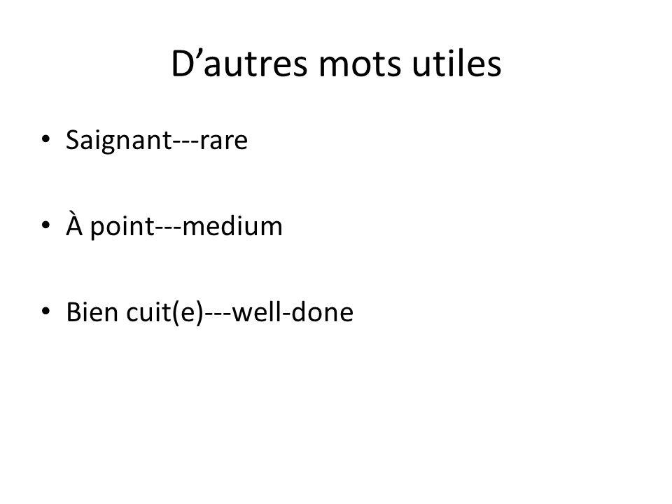 D'autres mots utiles Saignant---rare À point---medium Bien cuit(e)---well-done