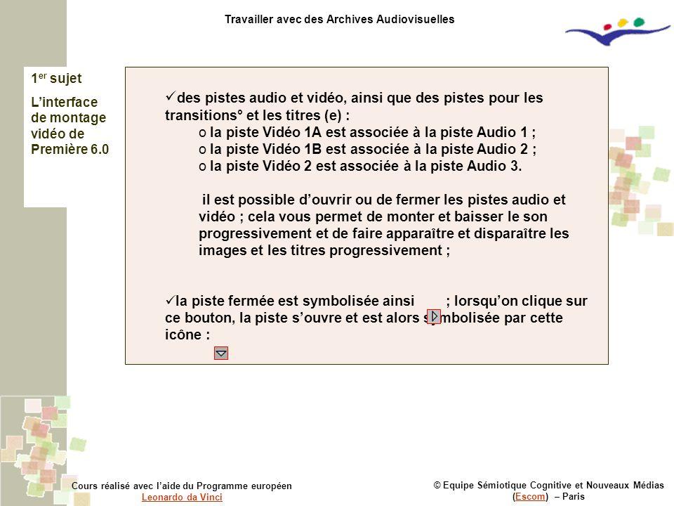 © Equipe Sémiotique Cognitive et Nouveaux Médias (Escom) – ParisEscom Cours réalisé avec l'aide du Programme européen Leonardo da Vinci Leonardo da Vinci Travailler avec des Archives Audiovisuelles des pistes audio et vidéo, ainsi que des pistes pour les transitions° et les titres (e) : o la piste Vidéo 1A est associée à la piste Audio 1 ; o la piste Vidéo 1B est associée à la piste Audio 2 ; o la piste Vidéo 2 est associée à la piste Audio 3.