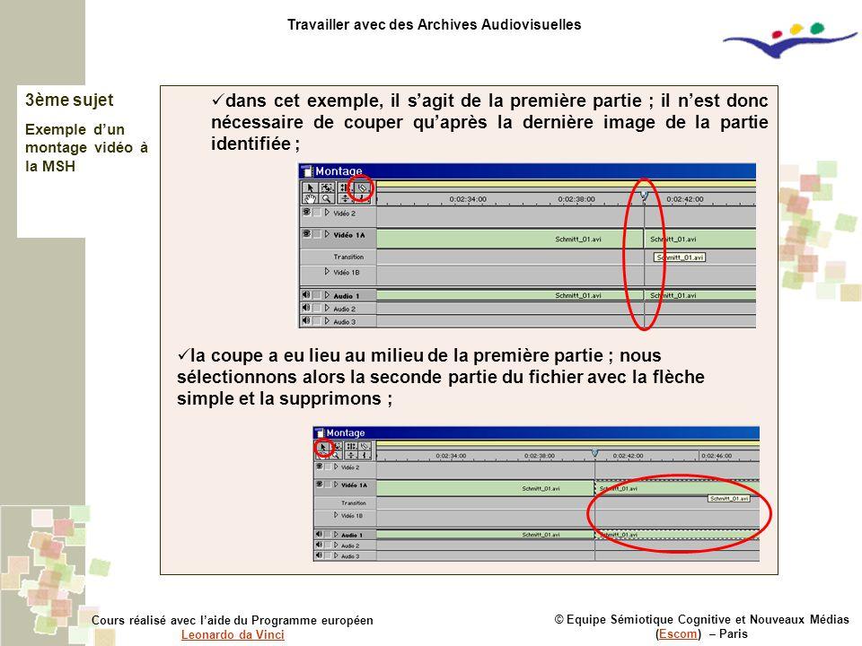 3ème sujet Exemple d'un montage vidéo à la MSH © Equipe Sémiotique Cognitive et Nouveaux Médias (Escom) – ParisEscom Cours réalisé avec l'aide du Prog