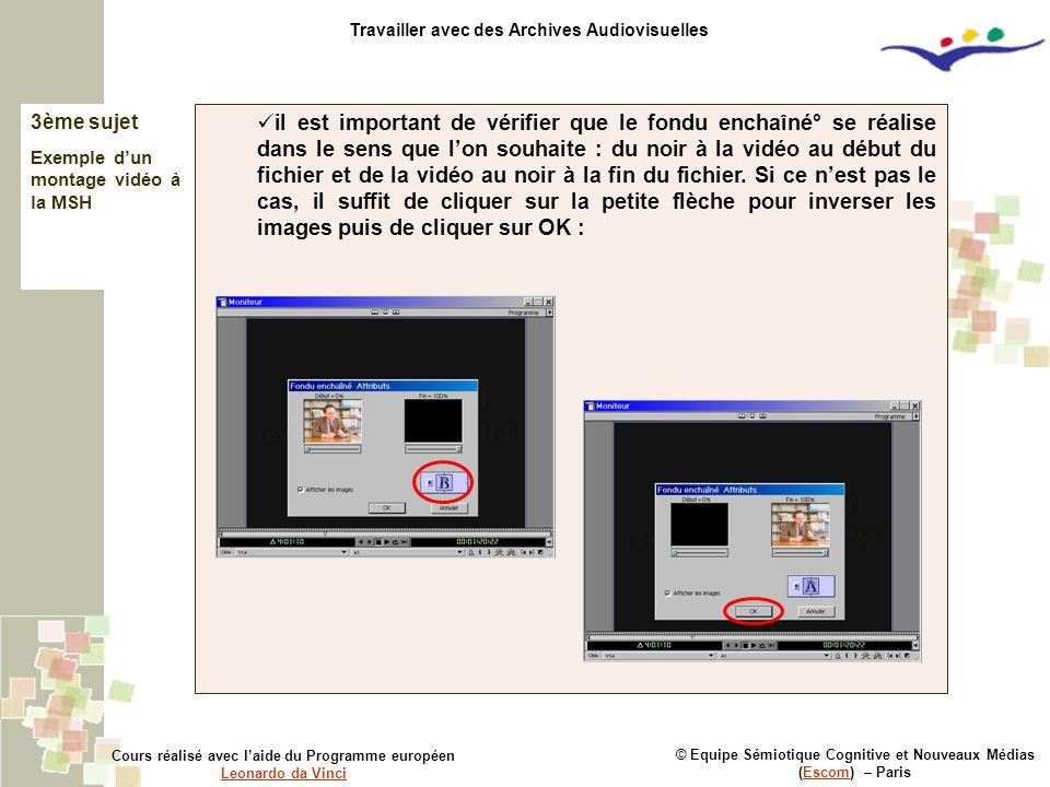© Equipe Sémiotique Cognitive et Nouveaux Médias (Escom) – ParisEscom Cours réalisé avec l'aide du Programme européen Leonardo da Vinci Leonardo da Vi