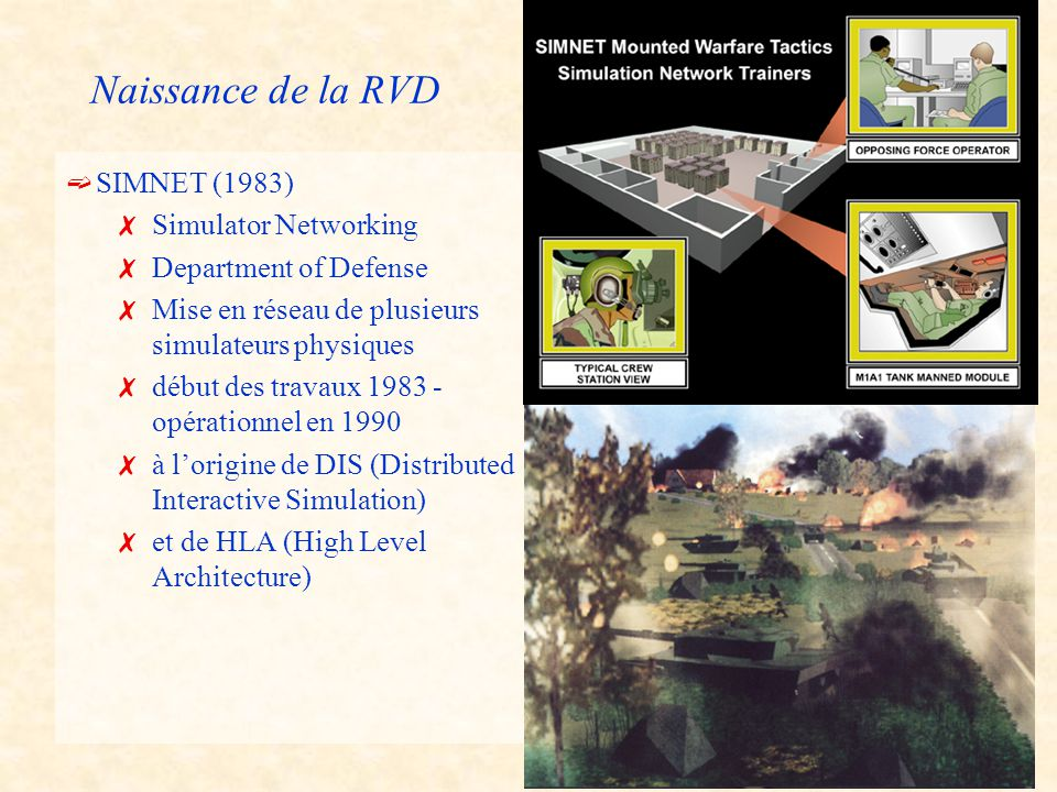 3 Naissance de la RVD ë SIMNET (1983) 7Simulator Networking 7Department of Defense 7Mise en réseau de plusieurs simulateurs physiques 7début des travaux 1983 - opérationnel en 1990 7à l'origine de DIS (Distributed Interactive Simulation) 7et de HLA (High Level Architecture)