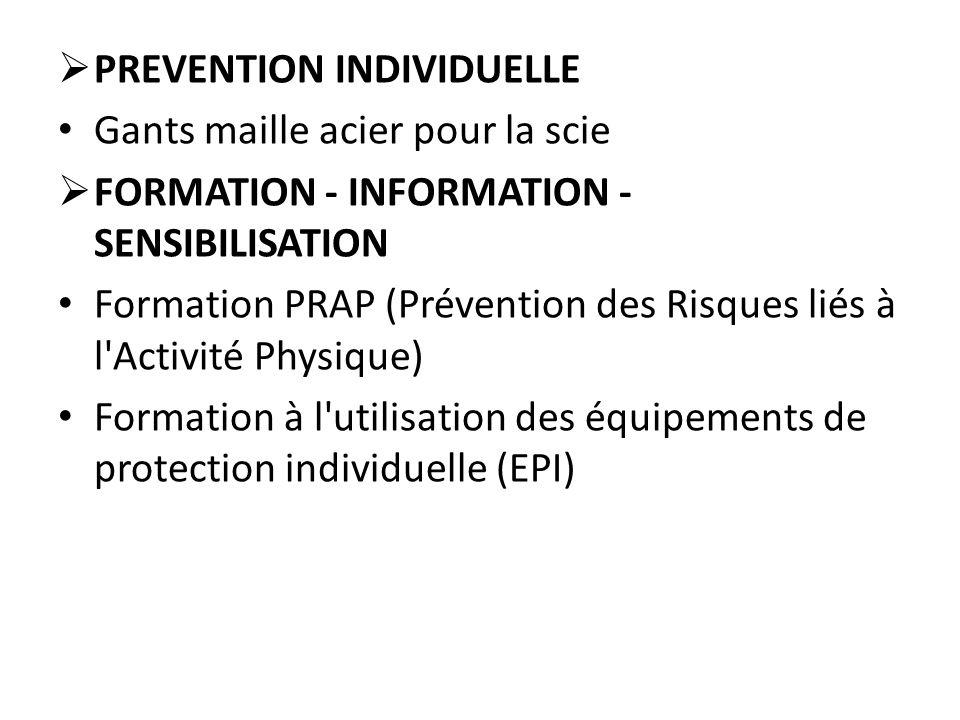  PREVENTION INDIVIDUELLE Gants maille acier pour la scie  FORMATION - INFORMATION - SENSIBILISATION Formation PRAP (Prévention des Risques liés à l'