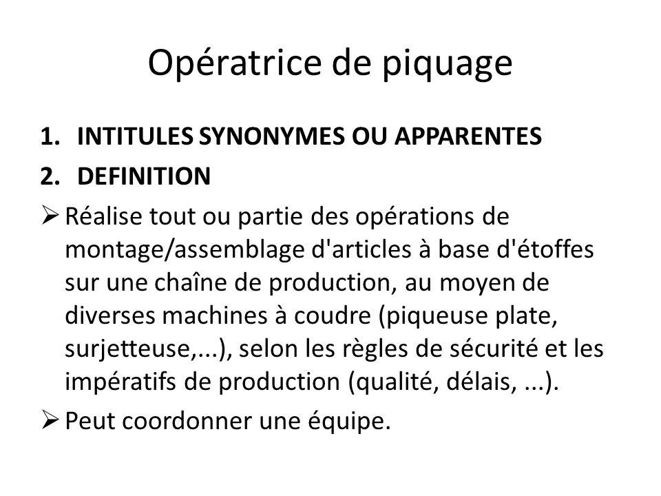 Opératrice de piquage 1.INTITULES SYNONYMES OU APPARENTES 2.DEFINITION  Réalise tout ou partie des opérations de montage/assemblage d'articles à base