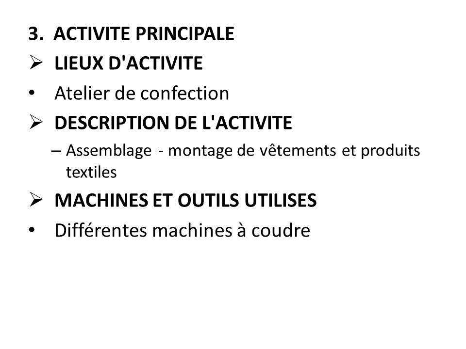 3. ACTIVITE PRINCIPALE  LIEUX D'ACTIVITE Atelier de confection  DESCRIPTION DE L'ACTIVITE – Assemblage - montage de vêtements et produits textiles 