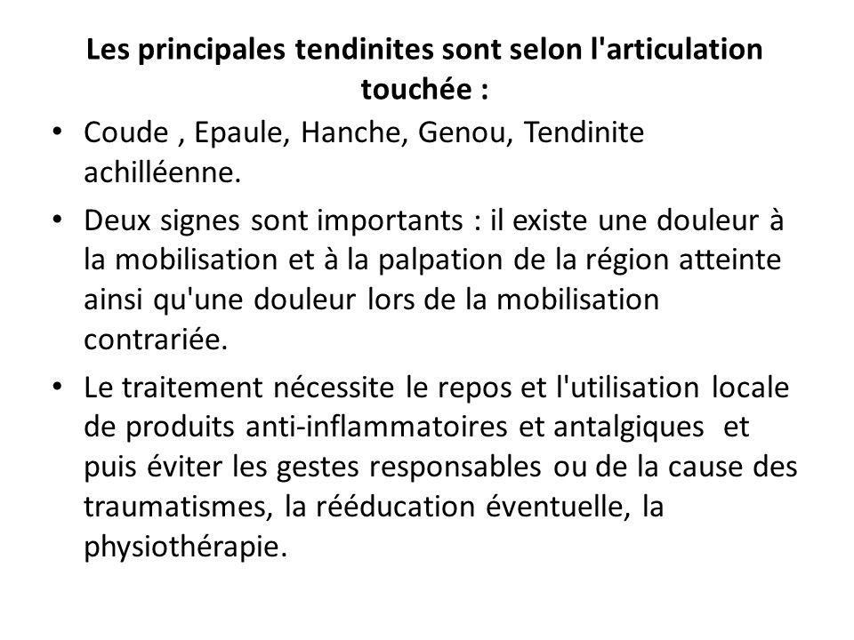 Les principales tendinites sont selon l'articulation touchée : Coude, Epaule, Hanche, Genou, Tendinite achilléenne. Deux signes sont importants : il e
