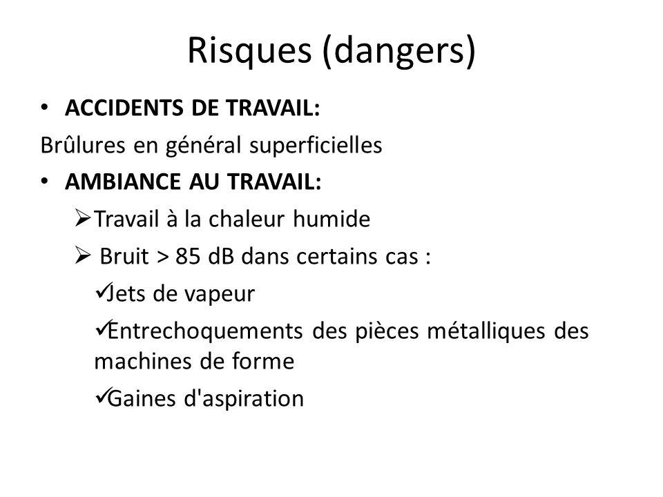 Risques (dangers) ACCIDENTS DE TRAVAIL: Brûlures en général superficielles AMBIANCE AU TRAVAIL:  Travail à la chaleur humide  Bruit > 85 dB dans cer
