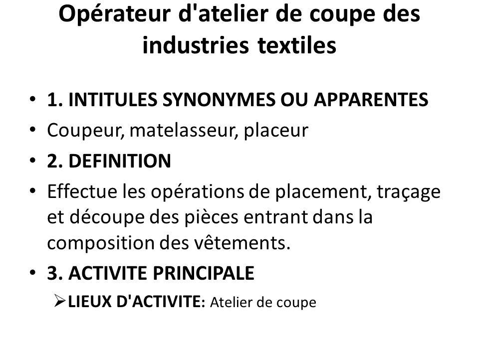 Opérateur d'atelier de coupe des industries textiles 1. INTITULES SYNONYMES OU APPARENTES Coupeur, matelasseur, placeur 2. DEFINITION Effectue les opé