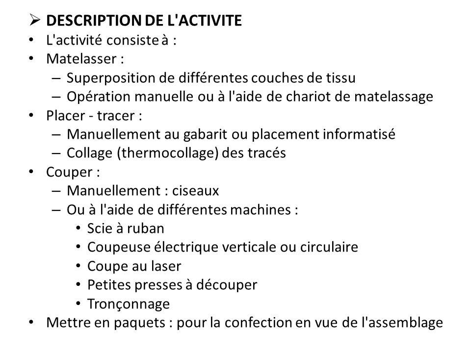  DESCRIPTION DE L'ACTIVITE L'activité consiste à : Matelasser : – Superposition de différentes couches de tissu – Opération manuelle ou à l'aide de c