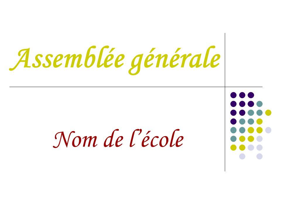Assemblée générale Nom de l'école