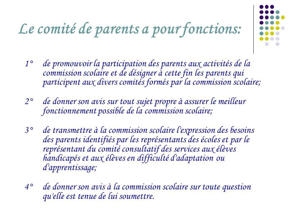 Le comité de parents a pour fonctions: 1° de promouvoir la participation des parents aux activités de la commission scolaire et de désigner à cette fi
