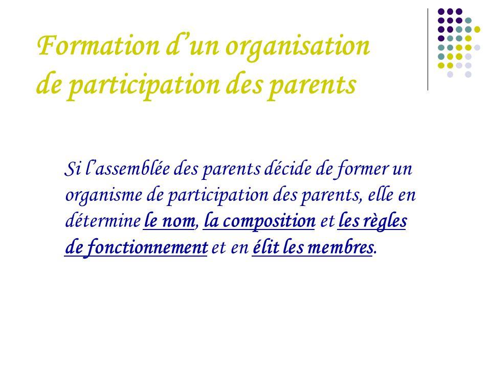 Si l'assemblée des parents décide de former un organisme de participation des parents, elle en détermine le nom, la composition et les règles de fonct