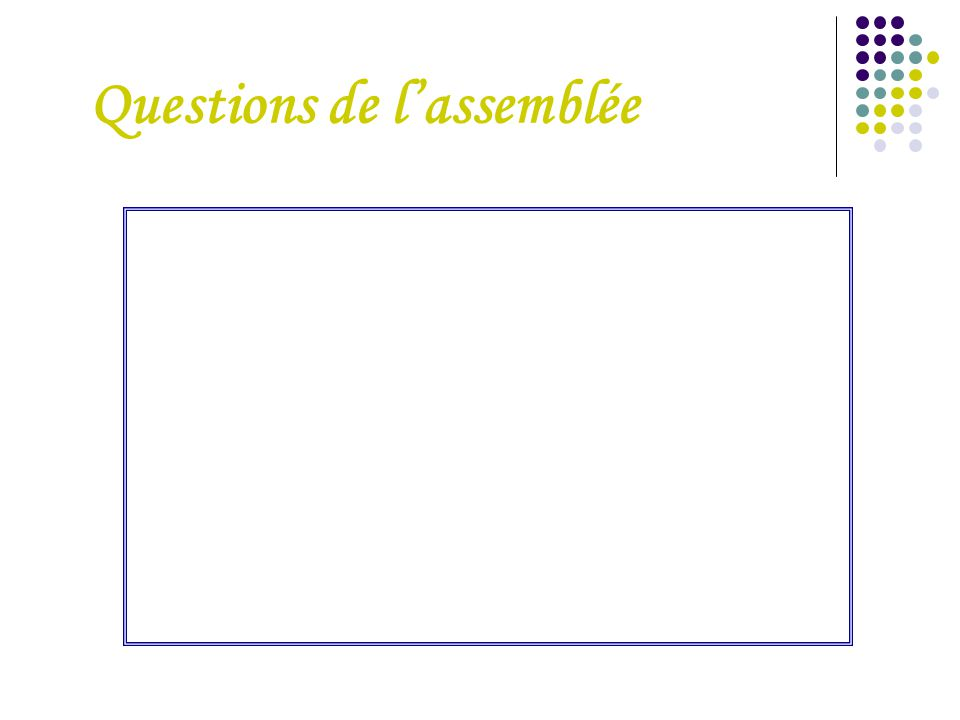 Questions de l'assemblée