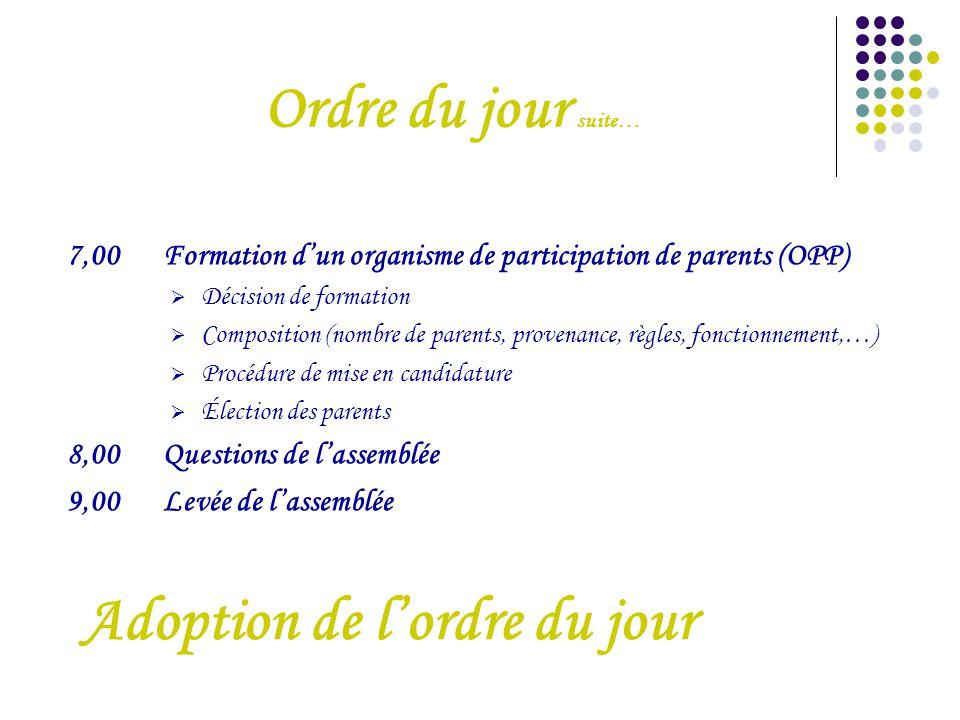 Ordre du jour suite… 7,00Formation d'un organisme de participation de parents (OPP)  Décision de formation  Composition (nombre de parents, provenan