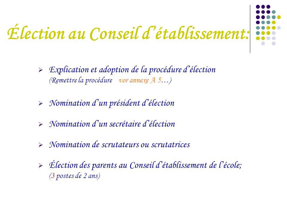 Élection au Conseil d'établissement:  Explication et adoption de la procédure d'élection (Remettre la procédure vor annexe A 5…)  Nomination d'un pr