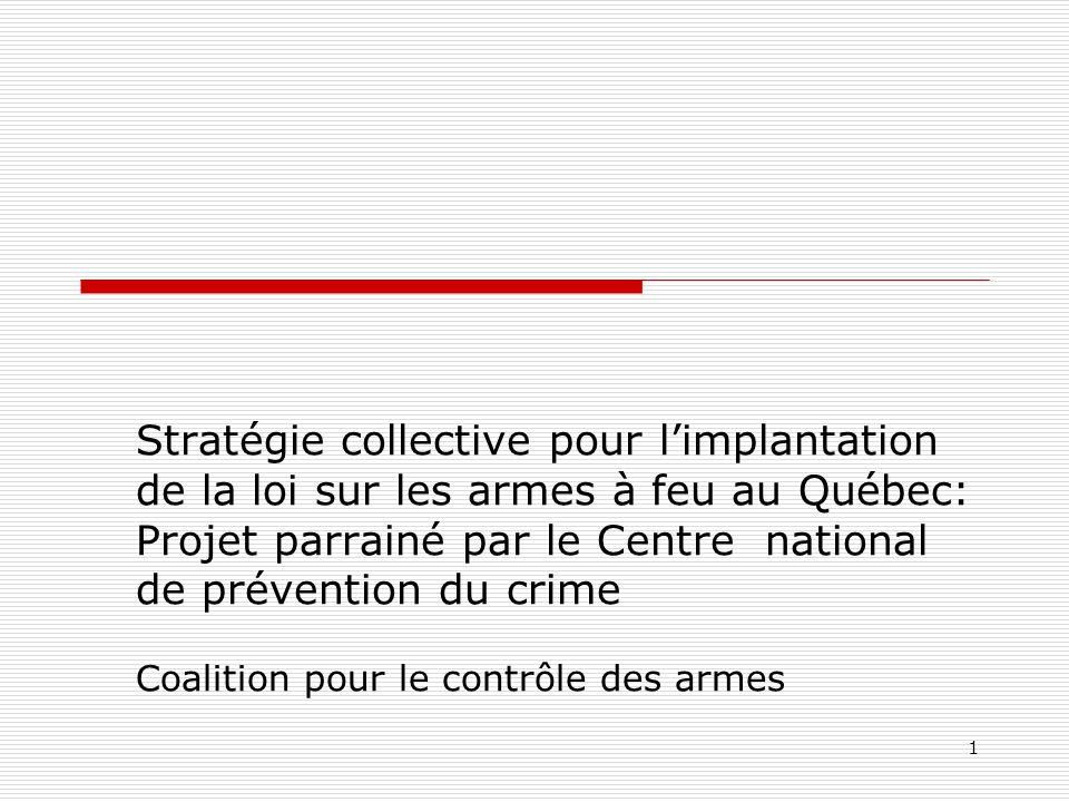 1 Stratégie collective pour l'implantation de la loi sur les armes à feu au Québec: Projet parrainé par le Centre national de prévention du crime Coal