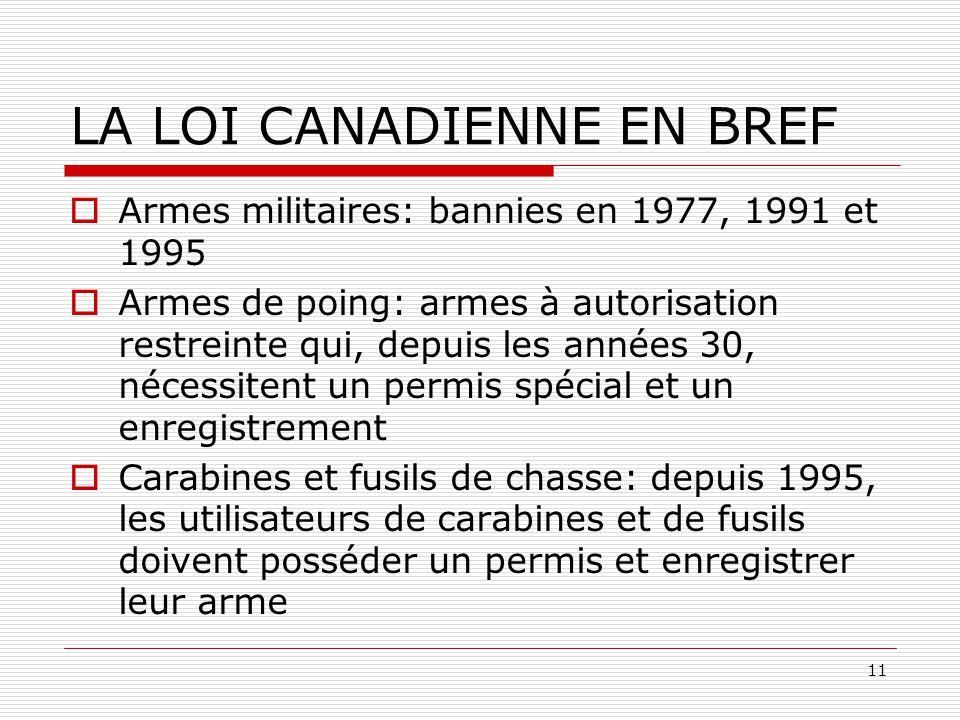 11 LA LOI CANADIENNE EN BREF  Armes militaires: bannies en 1977, 1991 et 1995  Armes de poing: armes à autorisation restreinte qui, depuis les année