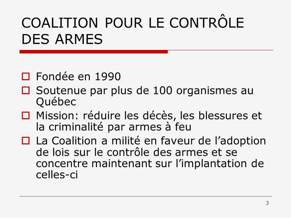 3 COALITION POUR LE CONTRÔLE DES ARMES  Fondée en 1990  Soutenue par plus de 100 organismes au Québec  Mission: réduire les décès, les blessures et