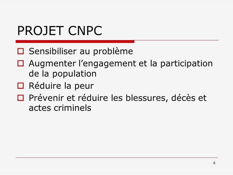 4 PROJET CNPC  Sensibiliser au problème  Augmenter l'engagement et la participation de la population  Réduire la peur  Prévenir et réduire les ble