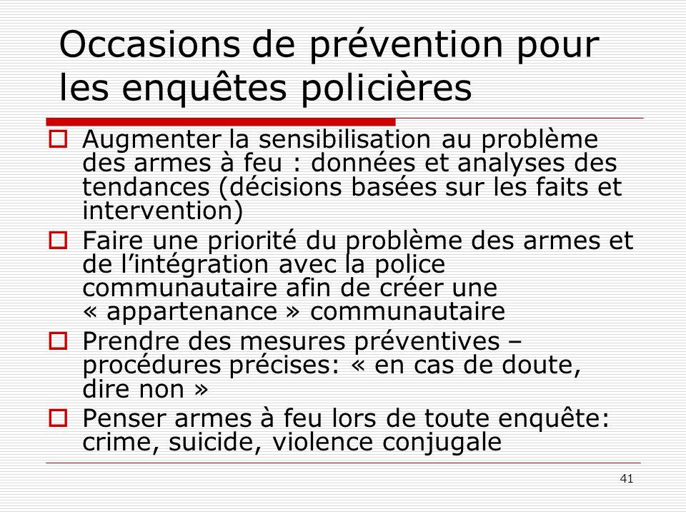 41 Occasions de prévention pour les enquêtes policières  Augmenter la sensibilisation au problème des armes à feu : données et analyses des tendances