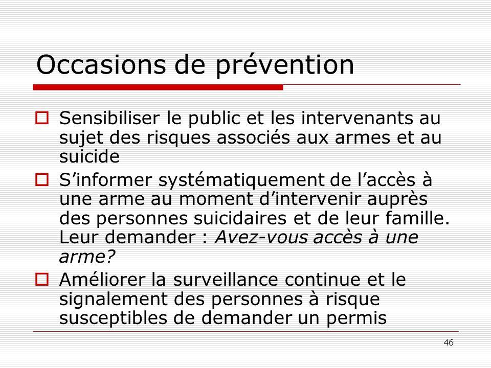 46 Occasions de prévention  Sensibiliser le public et les intervenants au sujet des risques associés aux armes et au suicide  S'informer systématiqu