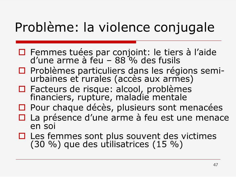 47 Problème: la violence conjugale  Femmes tuées par conjoint: le tiers à l'aide d'une arme à feu – 88 % des fusils  Problèmes particuliers dans les