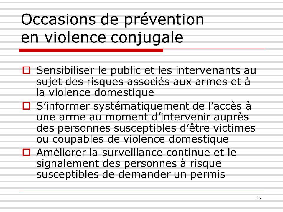 49 Occasions de prévention en violence conjugale  Sensibiliser le public et les intervenants au sujet des risques associés aux armes et à la violence