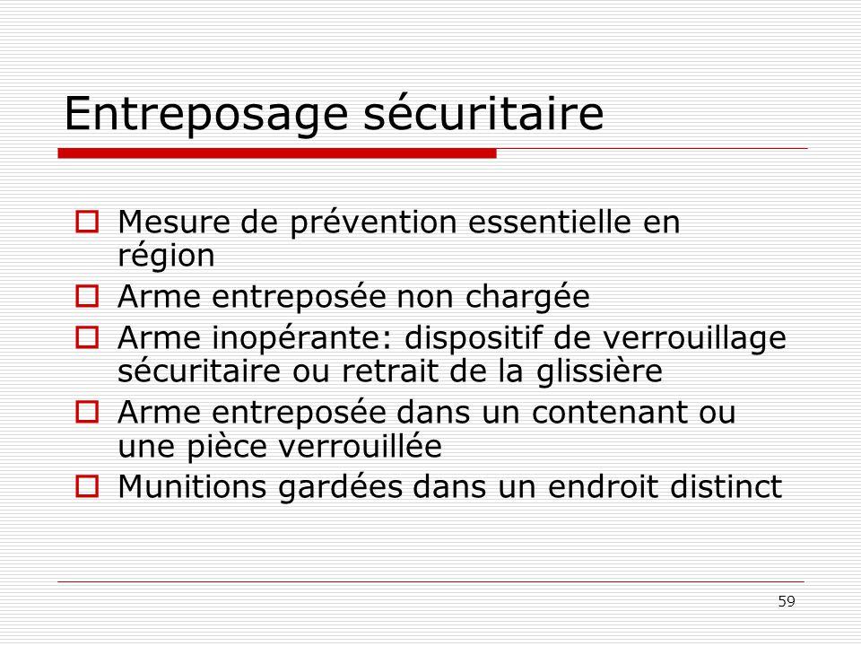 59 Entreposage sécuritaire  Mesure de prévention essentielle en région  Arme entreposée non chargée  Arme inopérante: dispositif de verrouillage sé