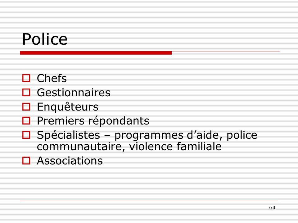 64 Police  Chefs  Gestionnaires  Enquêteurs  Premiers répondants  Spécialistes – programmes d'aide, police communautaire, violence familiale  As