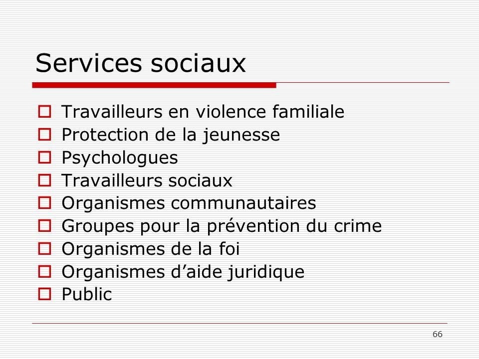 66 Services sociaux  Travailleurs en violence familiale  Protection de la jeunesse  Psychologues  Travailleurs sociaux  Organismes communautaires