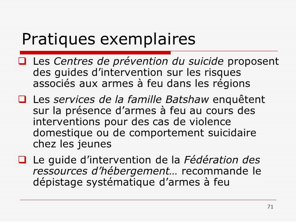 71 Pratiques exemplaires  Les Centres de prévention du suicide proposent des guides d'intervention sur les risques associés aux armes à feu dans les